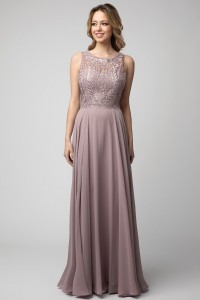 Embellished Top Chiffon Gown