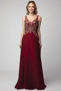 Sheath Dress with Rhinestone and Embroidered Top