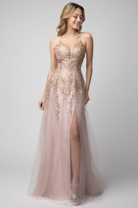 Flowy A Line Prom Gown with Emrbroidered Top