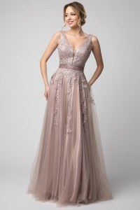A Line Embroidery Embellished Gown
