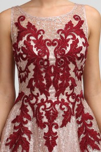 Embroidered Glitter Print A Line Gown