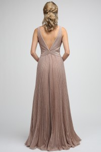 Accordion Pleat A Line Formal Gown