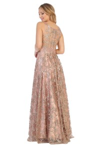 A-Line Glitter Lace Scoop Neck Sweep Train