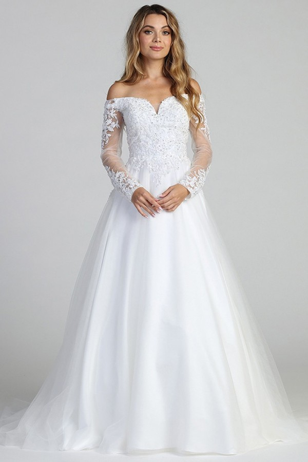 197-665<br/>Sweetheart A Line Lace Long Sleeve Bridal Gown