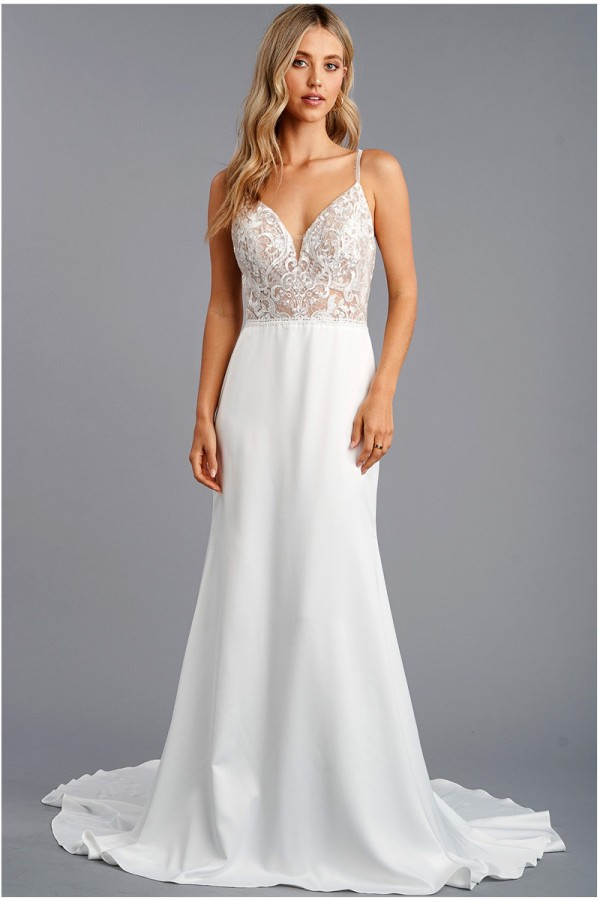 212-0173<br/>Sleeveless, Shoulder Strap Sweetheart Trumpet Gown