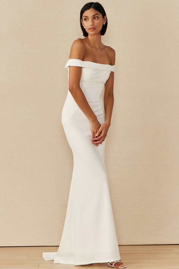 212-0910<br/>Off Shoulder, Fold Over Top Solid Mermaid Gown