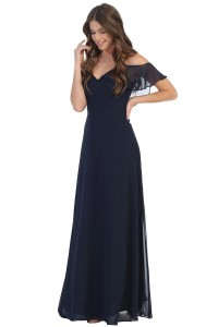 Ruffle Off Shoulder with Strap A line Dress