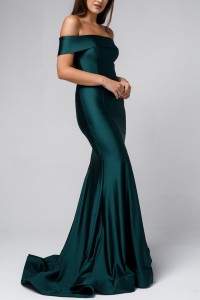 Fitted Off Shoulder Mermaid Gown