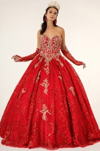Embroidered Glitter Mesh Quinceanera Dress