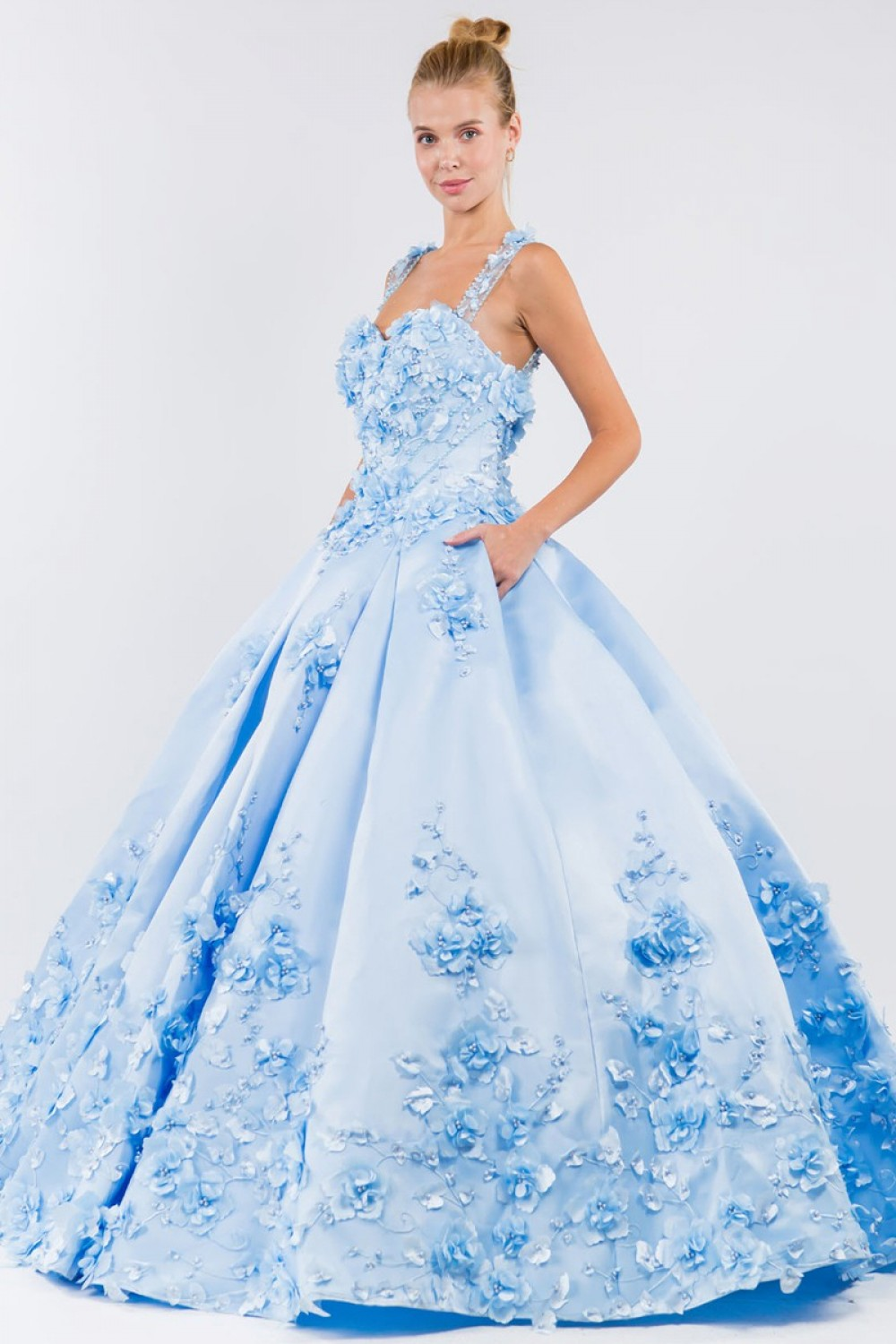 3D Floral Applique Satin Sweetheart Ball Gown