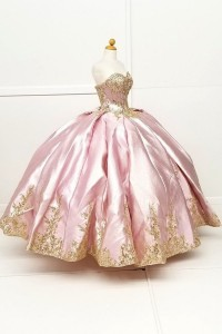Metallic Gold Embroidery Sweetheart Ball Gown