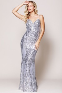 Fitted Sequin Dress with Plunged Neckline.