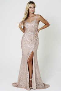 Sequin Dress with Ruched Side and Spaghetti Straps