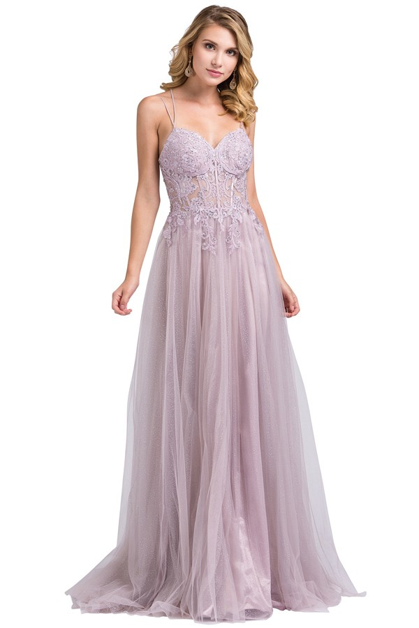 DL2645<br/>Spaghetti two Straps Embroidery top Chiffon Evening Dress