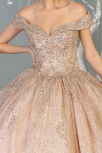 Ball Gown Off the Shoulder with Beading Dress