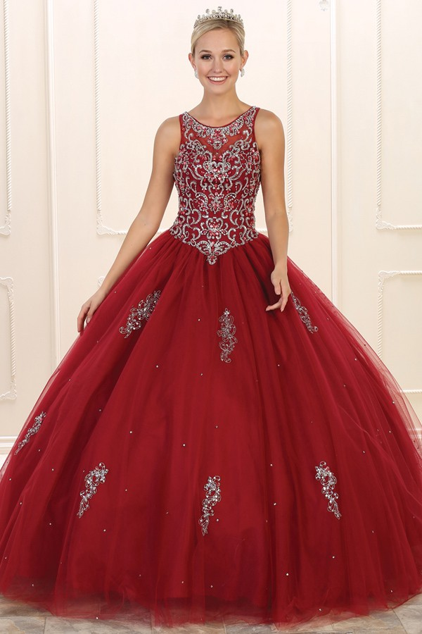 LK76<br/>Jewel Embellished Top Ball Gown
