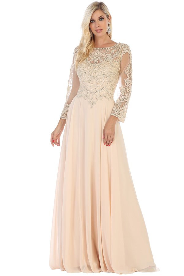 MQ1615B<br/>Long Sleeve Mother of the Bride dress