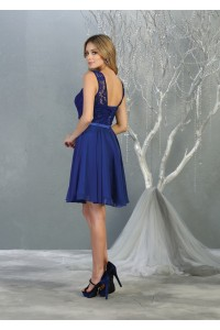 A-Line Scoop Neck Lace Short Homecoming Dress