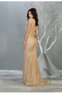 A-Line Off the Shoulder Glitter Sweep Train