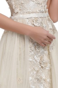 Tulle Wrap Skirt Fit and Flare Lace Dress